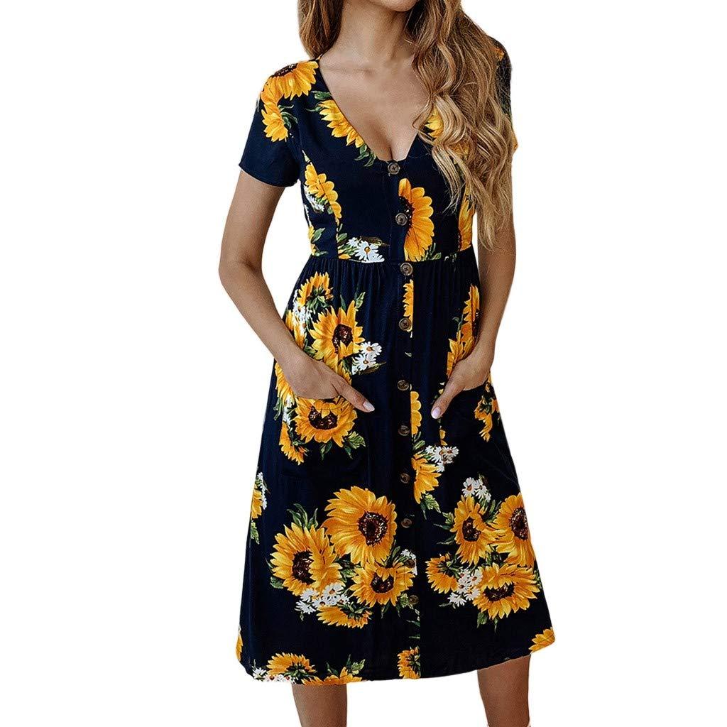 Nmch Women's Fashion Casual Sunflower Print V-Neck Button Midi Dress Short Sleeve Pockets Cotton Dress 2019 (Black,XL)