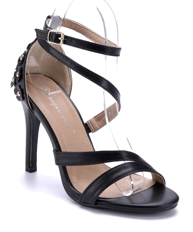 74977893db4af1 Schuhtempel24 Damen Schuhe Sandaletten Sandalen Weiß Stiletto  Nieten Blumenapplikation 10 cm High Heels  Amazon.de  Schuhe   Handtaschen