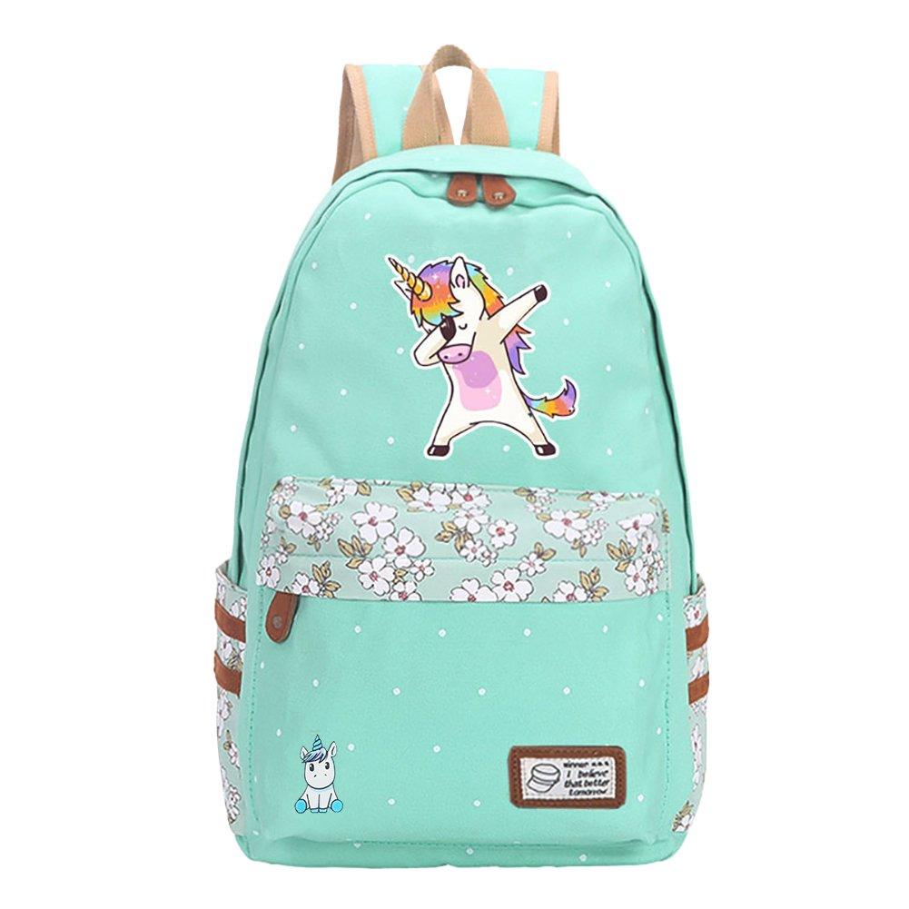 Teen Girls' Canvas School Bag Travel Unicorn Backpack College Bookbag Shoulder Casual Daypack for Boys Laptop Bag (green)