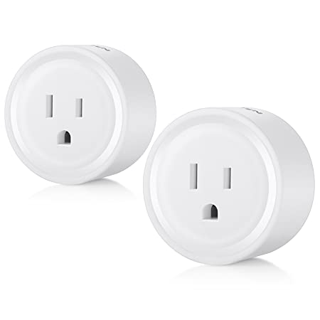 2 Pack BESTTEN Mini Wi-Fi Smart Outlet, Works with Amazon Alexa Echo and Google Home, Easy Quick Set Up, White, No Hub Required, 10 Amp 1250 Watts, FCC Certified