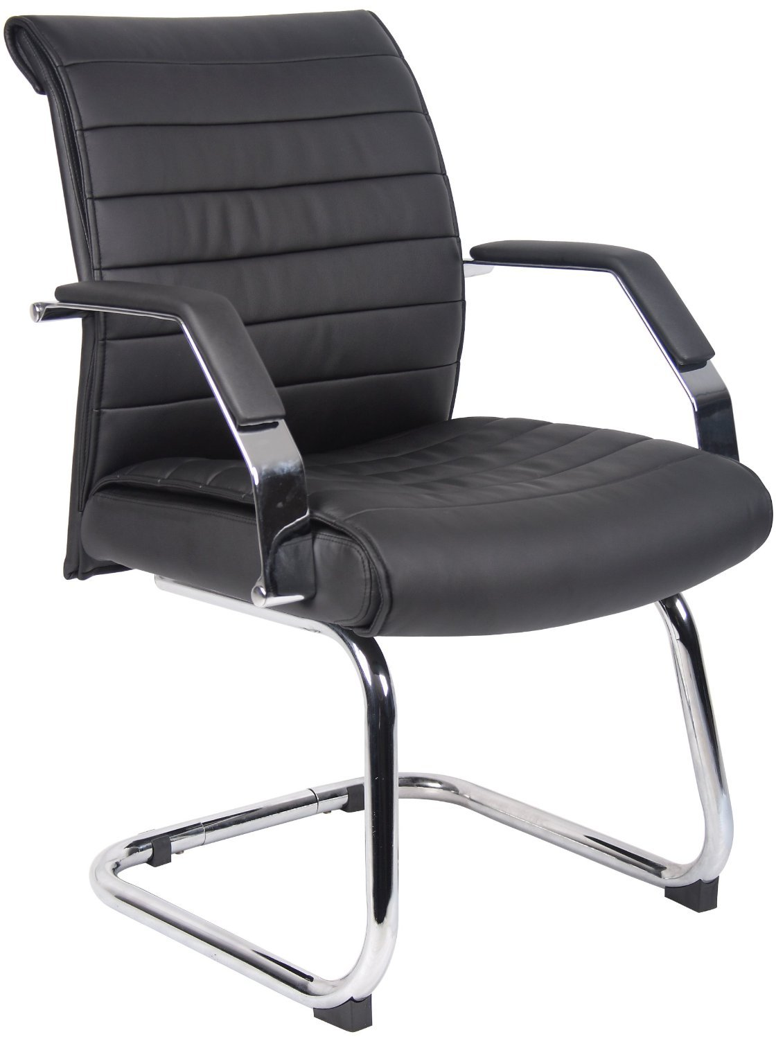 Boss Office Products Ribbed Guest Chair in Black