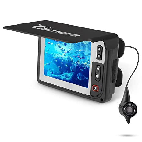 Underwater Fishing Camera , Moocor Portable Fishing Finder Camera HD1000  TVL Infrared LED Waterproof Camera with 3 5 Inch LCD Monitor for Ice Kayak