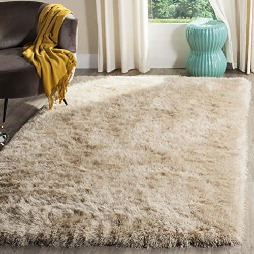 Area Dark Gold Rug - Safavieh Venice Shag Collection SG256C Handmade Champagne Polyester Area Rug (8' x 10')