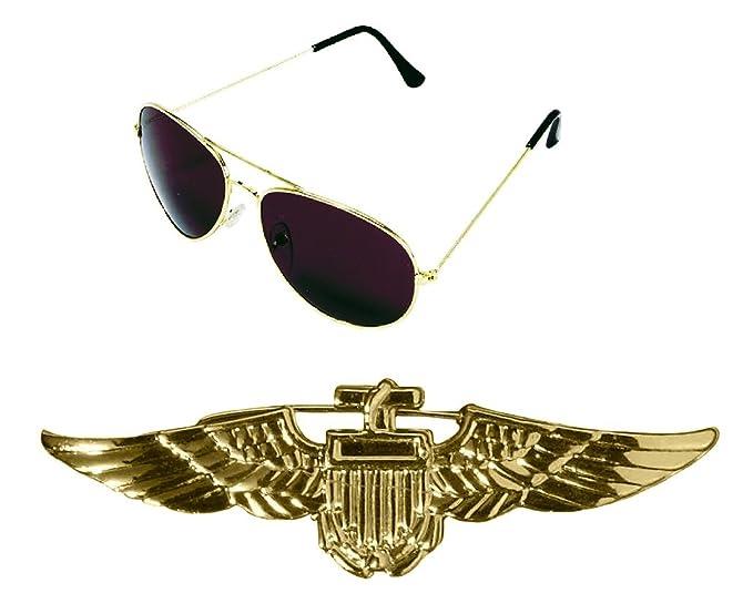 003f6de4b0c Amazon.com  Fancy Aviator Pilot Gold Badge and Sunglasses Airliner Costume  Accessories Set  Clothing