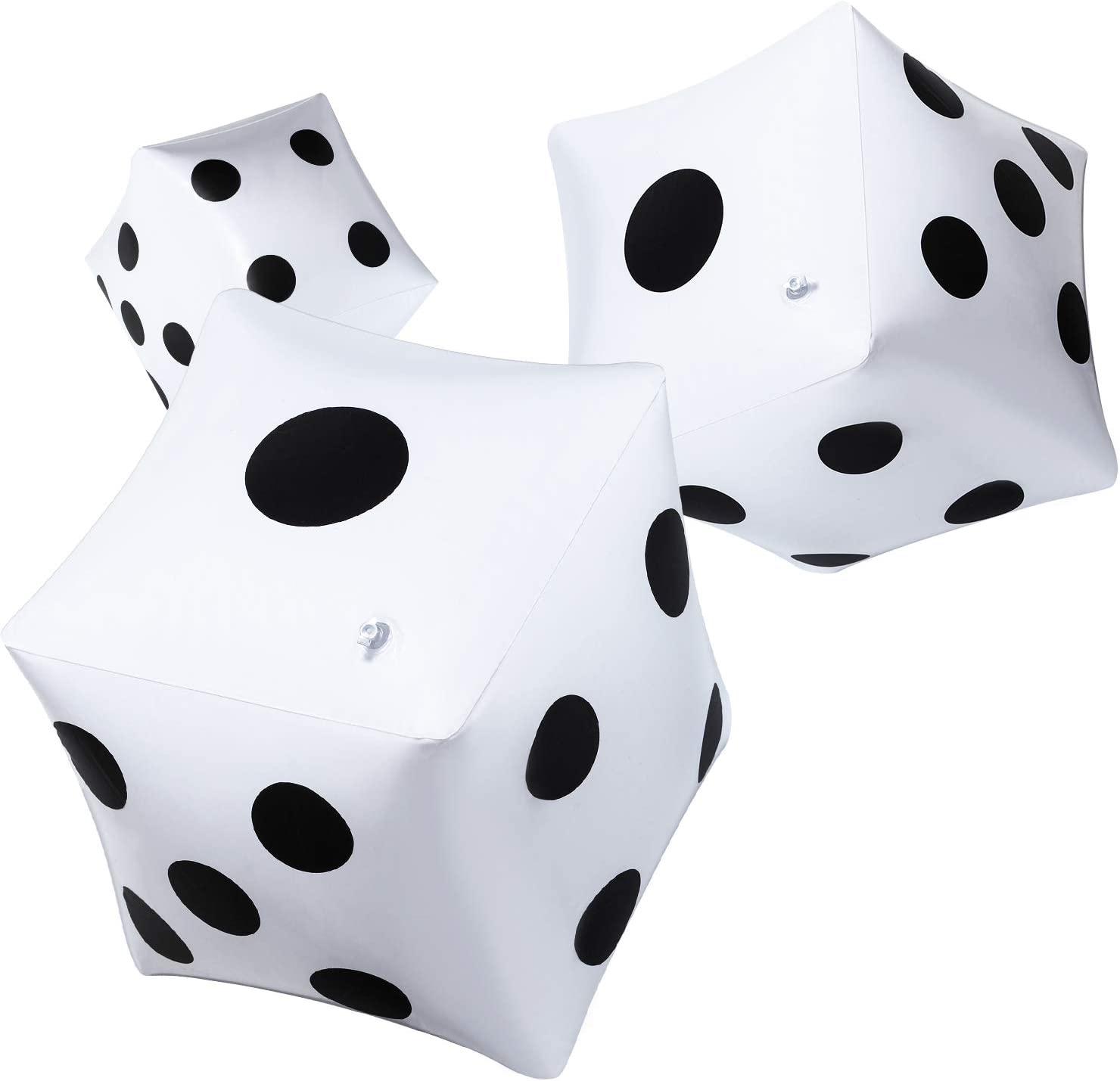 Blulu 3 Pack Giant Inflatable Dice 12 Inch Jumbo Dice White Jumbo Large Inflatable Dice for Game Pool Toy Party Favour (White, 3 Pack)