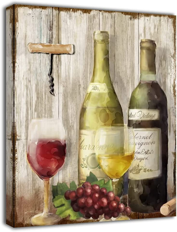 DAVOD Kitchen Wall Art Wine Grape Pictures Canvas Prints Still Life Paintings Wall Decor Dining Room Home Decorations Framed Artwork 12