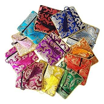 Amazon.com: 12pcs Seda Brocade Bolsa de Joyería Bolso Cordón ...