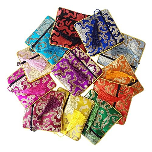 Gold Fortune 12PCS Silk Brocade Jewelry Pouch Bag Drawstring Coin Purse Gift Bag Value Set Mix Colors