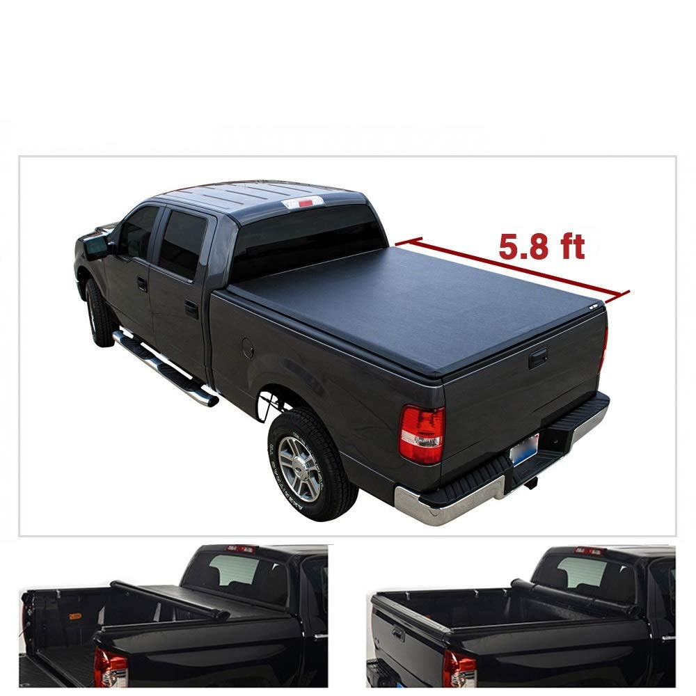 """Black Soft Vinyl Roll-up Tonneau Cover For 14-18 Chevy Silverado/GMC Sierra 1500 Pickup 5.8ft (69.3"""") Fleetside Bed Clamp On No Drill Top Mount Assembly w/Rails+Mounting Hardware Cargo Bed Cover"""