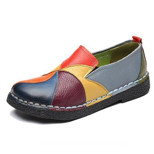 Mujer Genuina Mocasines de Cuero Colores Mixtos Zapatos Casuales artesanales Suave Zapatos cómodos Mujeres Pisos: Amazon.es: Zapatos y complementos