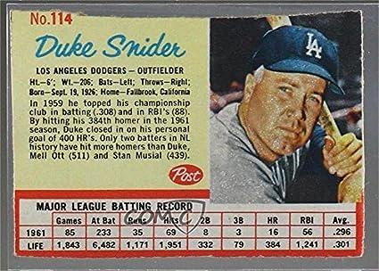 Amazon com: Duke Snider (Baseball Card) 1962 Post - [Base] #114