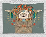 Ambesonne Llama Tapestry, Colorful Headwear Wearing Llama with Accessories Earrings Necklace Abstract Animal, Wall Hanging for Bedroom Living Room Dorm, 60 W X 40 L Inches, Multicolor