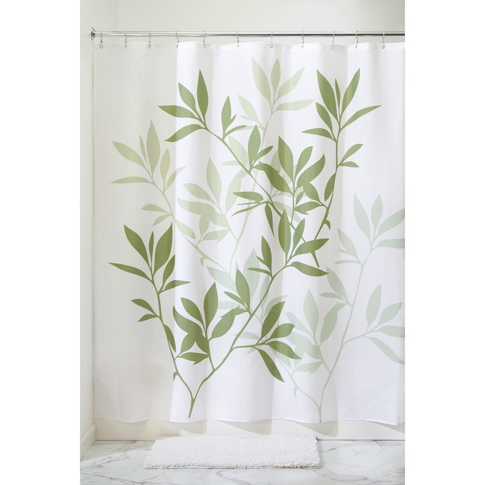 Amazon.com: InterDesign Leaves Long Shower Curtain, Green, 72-Inch ...