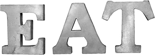 EAT Patina Gray 7 Inch Tall Tin Metal Dimensional Wall Art Letters