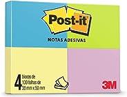 Bloco de Notas Adesivas, Post-it, 38x50mm, 4 Blocos de 100 Folhas, Multicor