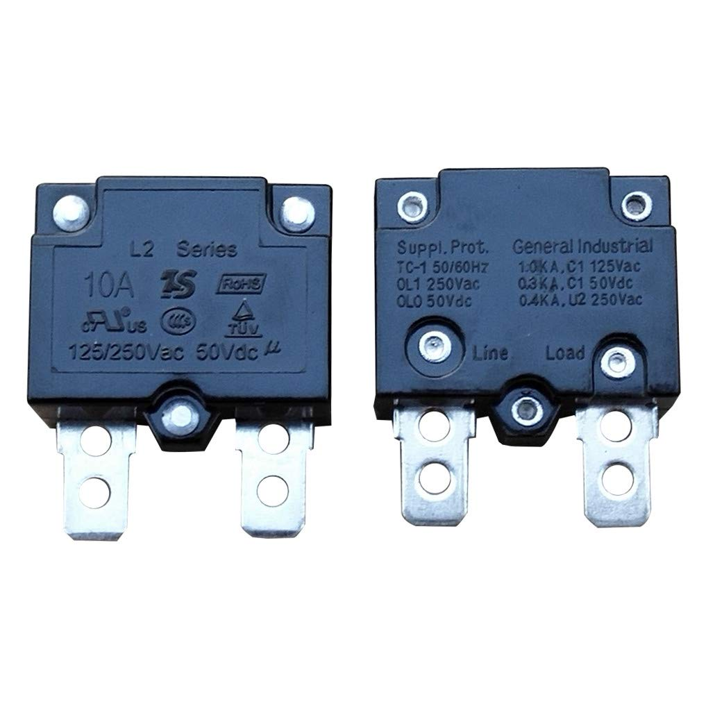 WELLYE 2Pcs 10A 125/250Vac 50Vdc Automatic Reset Relay Fuse Therma Switch Circuit Breaker Current Overload Protector Children Ride On Toy Car Accessories
