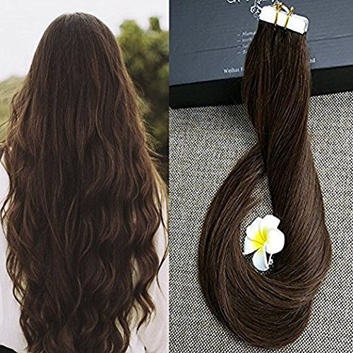 "Full Shine 20"" Remy Seamless Tape Skin Weft Human Hair Extensions Medium Brown (#4) 40 Pcs 100g Per Set"