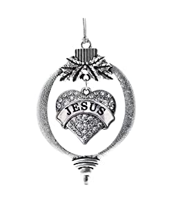 Inspired Silver - Jesus Charm Ornament - Silver Pave Heart Charm Holiday Ornaments with Cubic Zirconia Jewelry