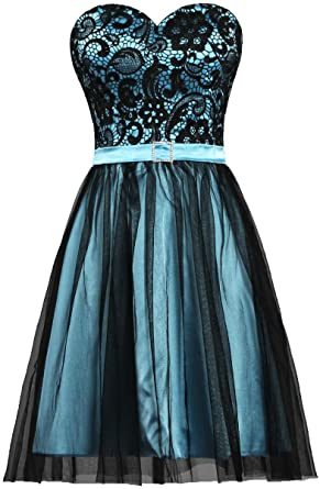 Amazon Ants Womens Black Tulle Lace Evening Prom Dress Short