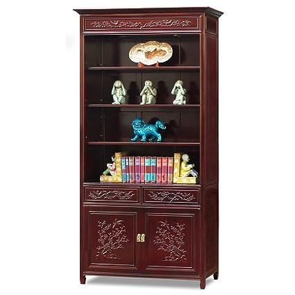 China Furniture Online Rosewood Bookcase 38 Inches Bird And Flower Design Display Cabinet Dark Cherry