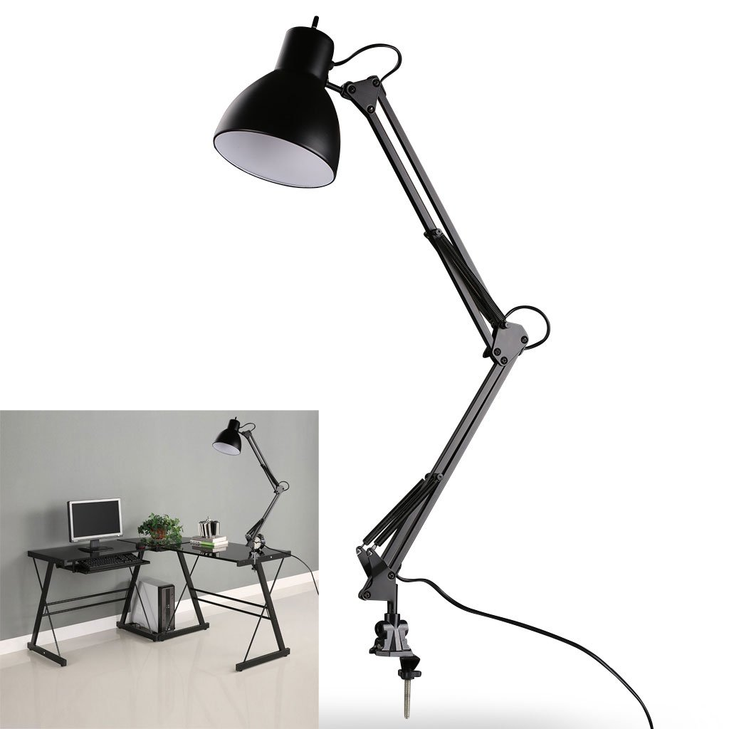 LED Desk Lamp - BANGWEIER Black Flexible Swing Arm Clamp Mount Lamp Office Studio Home Table Desk Light [Energy Class A+++] BWELEG_30G