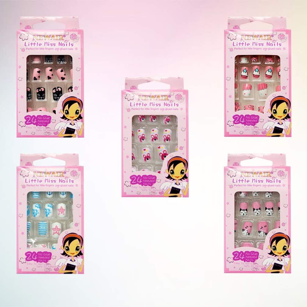 Minkissy Set di unghie finte per bambini, 120 pezzi, motivo: cartoni animati, copertura completa, idea regalo per Natale per ragazze (stile casuale)