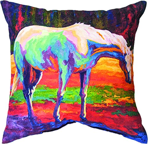 """MWW Manual Woodworkers & Weavers Indoor/Outdoor Climaweave Throw Pillow, Horse, 18\"""""""