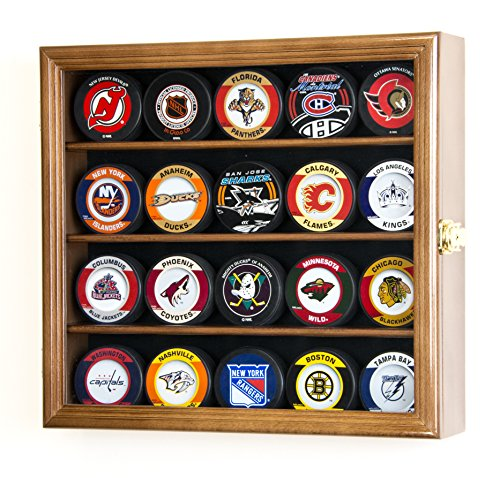 20 Hockey Puck Display Case Cabinet Holder Wall Rack 98% UV Protection (Walnut Finish)