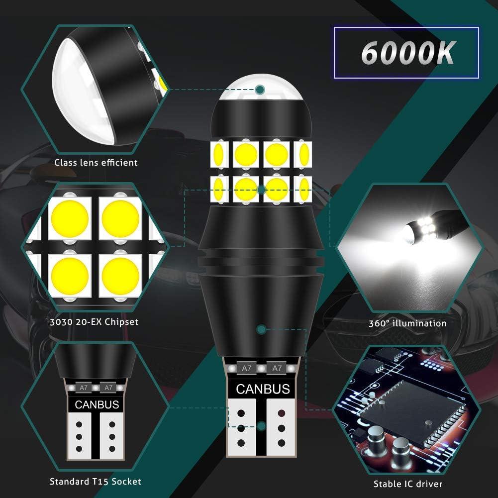 2pc 15smd 955 921 T15 168 W16W 3030 LED Bulb Side Indicator Tail Light 6000K