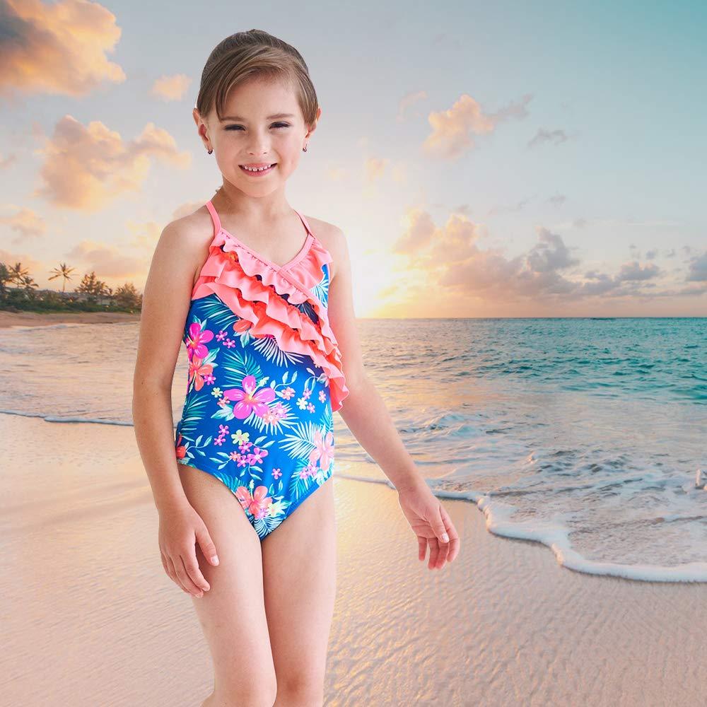 86ad12a576e Amazon.com: Girls One Piece Swimsuits Hawaiian Ruffle Swimwear Beach  Bathing Suit: Clothing