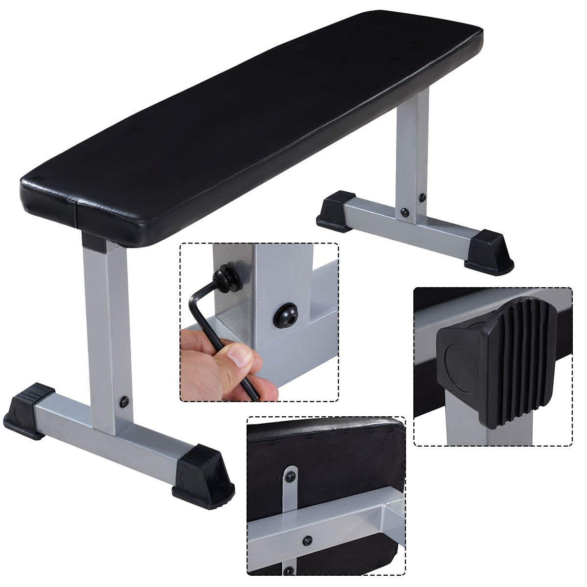 GYMAX Weight Bench, Flat Weight Bench Utility Workout Bench Sit Up Crunch Board for Home Gym Exercise Fitness Strength Training by GYMAX
