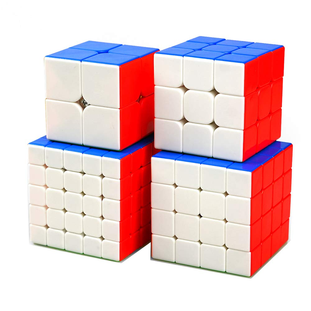 JIAAE Professional Competition Rubik's Cube Children Puzzle Colorful No Stickers Rubik Toy,Set5
