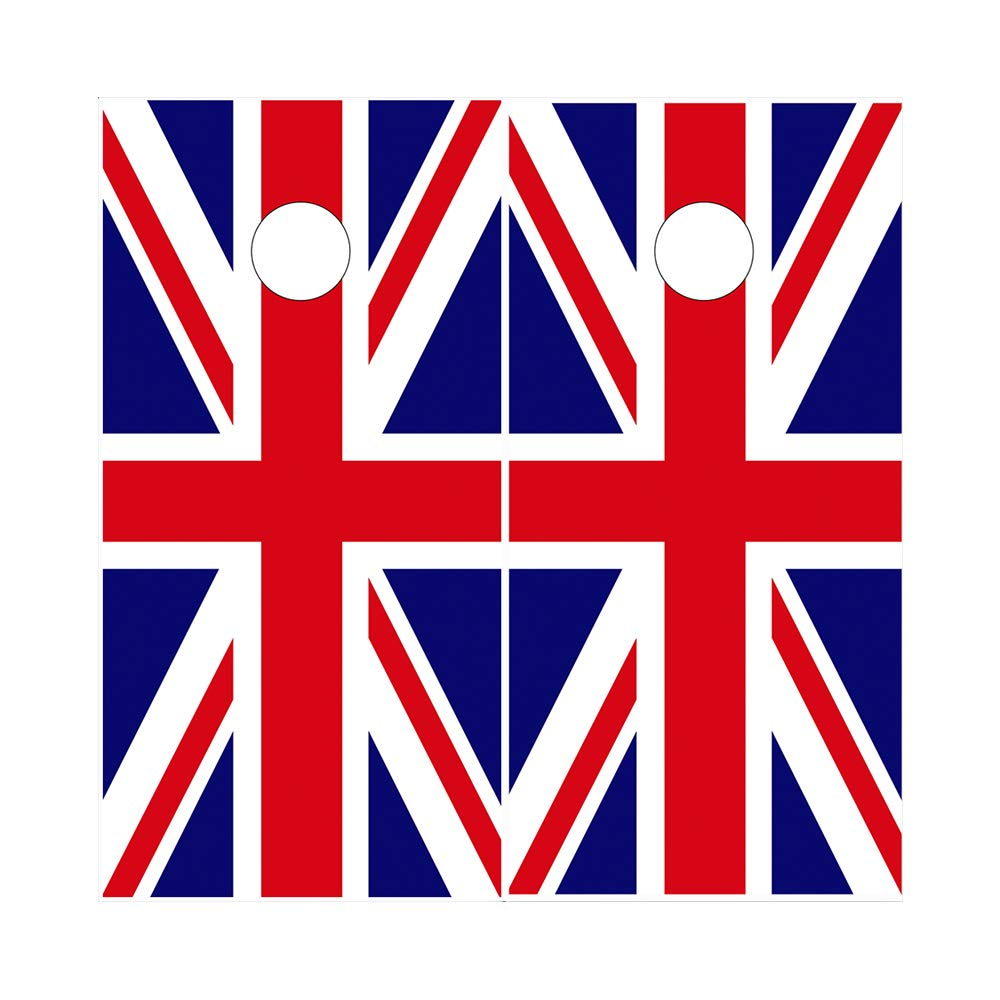 Decals N Designs Great Britain Union Jack Laminated Country Cornhole Board Wraps ~ Set of 2
