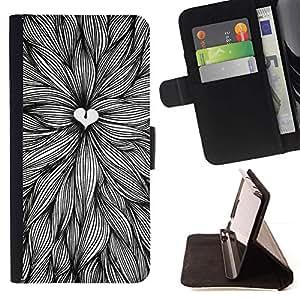 For HTC One M7 Case , Amantes de la naturaleza Art Pen Hojas Tinta- la tarjeta de Crédito Slots PU Funda de cuero Monedero caso cubierta de piel