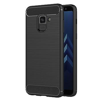 AICEK Funda Samsung Galaxy A8 2018, Negro Silicona Fundas para Samsung A8 2018 Carcasa Galaxy A8 2018 Fibra de Carbono Funda Case (5,6 Pulgadas)