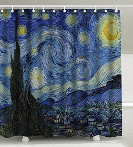 Wknoon 72 x 72 Inch Shower Curtain Set, The Starry Night Artwork Abstract Oil Painting Art ()