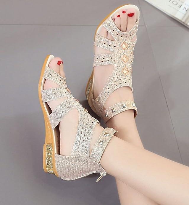 Anguang Donna Luccichio Sandali Zipper Elegante Cavo Piatto Sandali Antiscivolo Beige#2 36 5KkVj7
