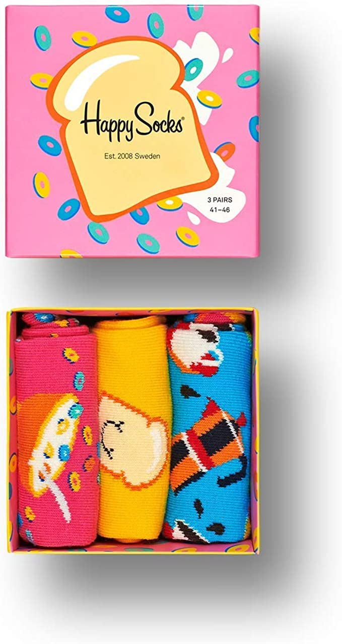Happy Socks, multicolor premium de regalo de cartón 3 pares de calcetines para hombres y mujeres: Amazon.es: Ropa y accesorios