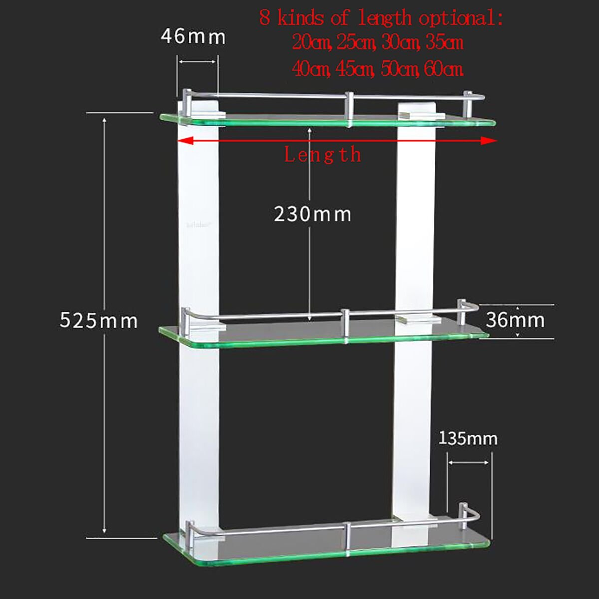 Handtuchhalter Space Aluminium Drei Glas Regal Badezimmer ...