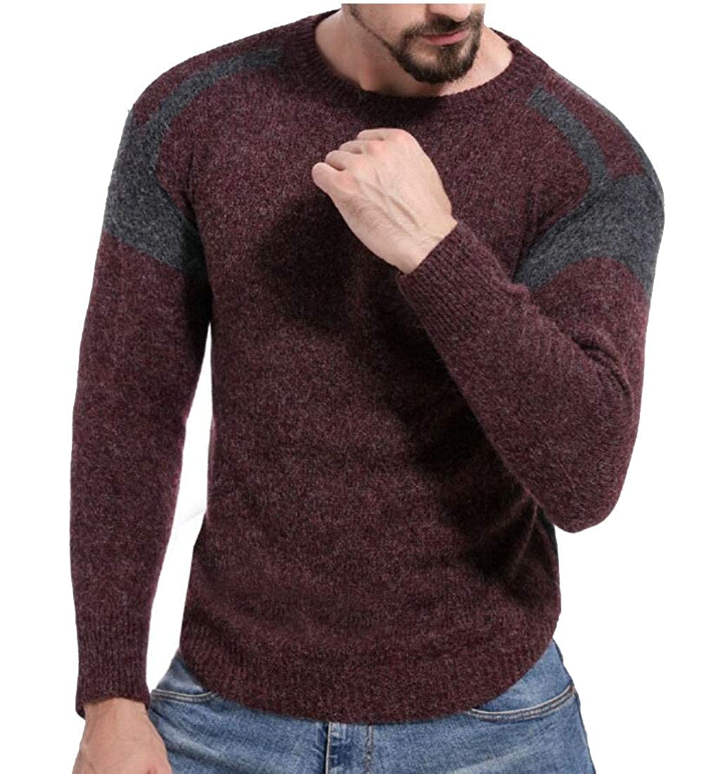 desolateness Men Crewneck Long Sleeve Patchwork Knitted Pullover Sweater