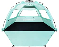 WhiteFang Deluxe XL Pop Up Beach Tent Sun Shade Shelter for 3-4 Person, UV Protection, Extendable Floor with 3 Ventilating Wi