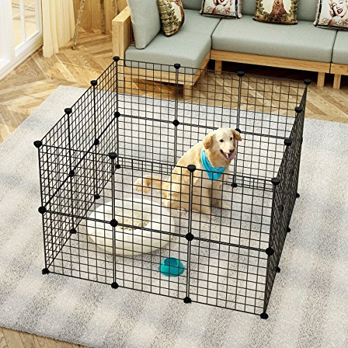 MAGINELS Pet Playpen Puppy Crate Kennel Rabbit Fence Panels Wire Exercise Pen Cage Yard for Small Animals Rat Black 24 - Fence Panel Wire