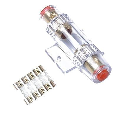 VORCOOL 4/8 Gauge AWG In-Line AGU Porte-fusible avec 5 pièces 60 A Fusibles Auto et Moto