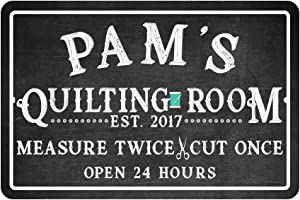 Pattern Pop Personalized Quilting Room Chalkboard Look Metal Room Sign
