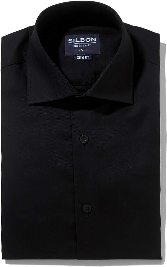 SILBON - Camisa Vestir Ejecutivo Negra para Hombre: Amazon.es ...