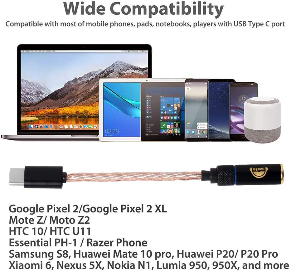 USB C to 3.5mm Digital USB C to 3.5mm Headphone Adapter,OKCSC TYT35H DAC 8 Strands Copper /& Silver Hybrid Woven Cable,USB C to AUX Cable Male Jack Adapter