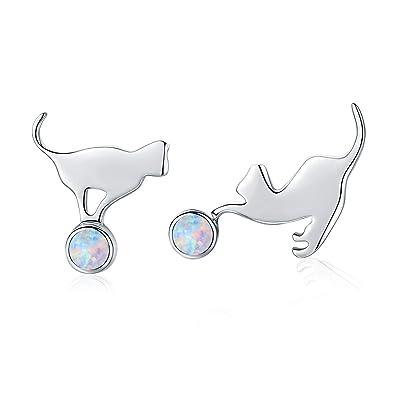 Cat Opal Earrings Cat Earrings for Women Girl Sterling Silver Stud Earrings Cat Jewellery for Girl Silver Cat Opal Earrings Silver Earrings for Kids 925