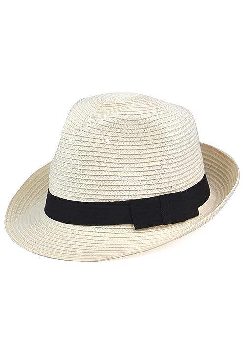 SODIAL (R) Cappello di feltro cappello di paglia Fedora - Panama stile  Tascabile sgualcibile 169fb6cf53f9