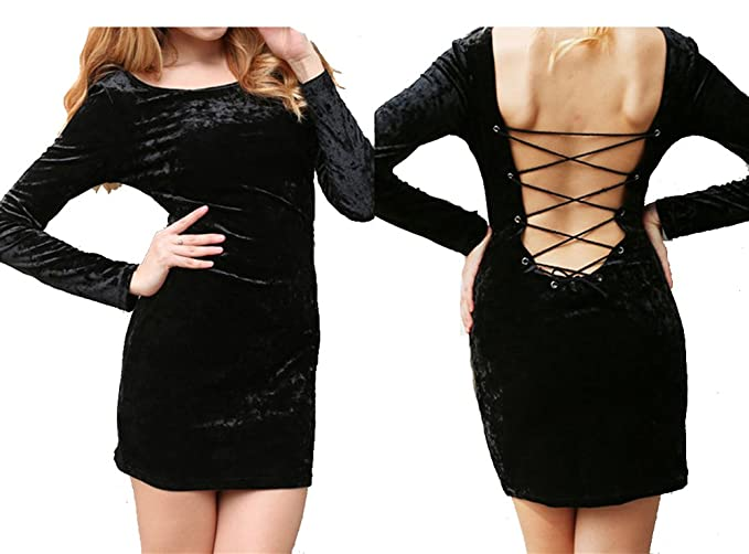 b3fd9a300a0a Image Unavailable. Image not available for. Color: Sexy Backless Bodycon  Dress Velvet Bandage Long Sleeve ...