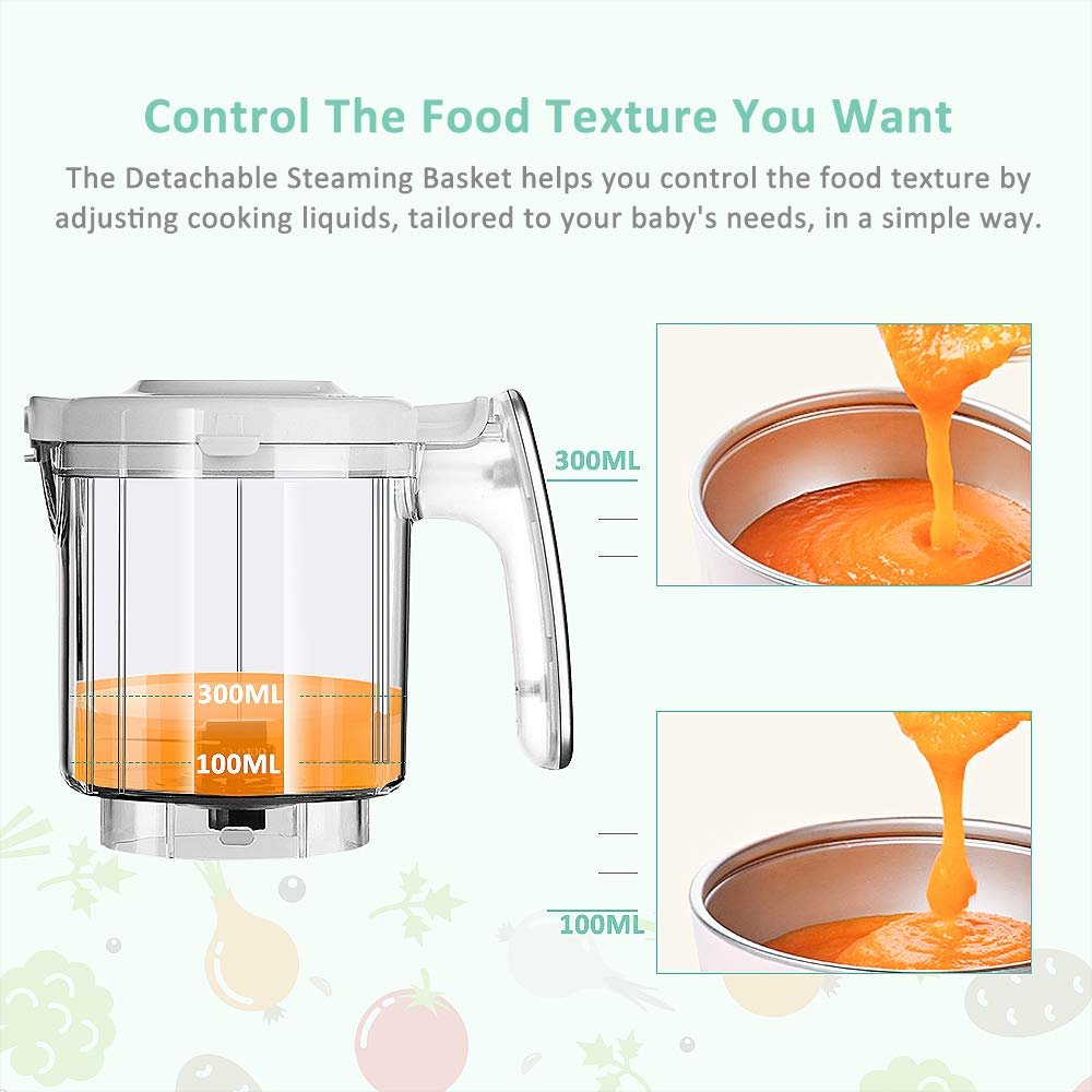 Infanso Baby Food Maker Food Processor BF300 for Infants and Toddlers 7 in 1 Organic Food Making Machine with Steam Cooker, Blender, Chopper, Defroster, Reheater, Disinfector and Auto Cleaning by InFanso (Image #3)